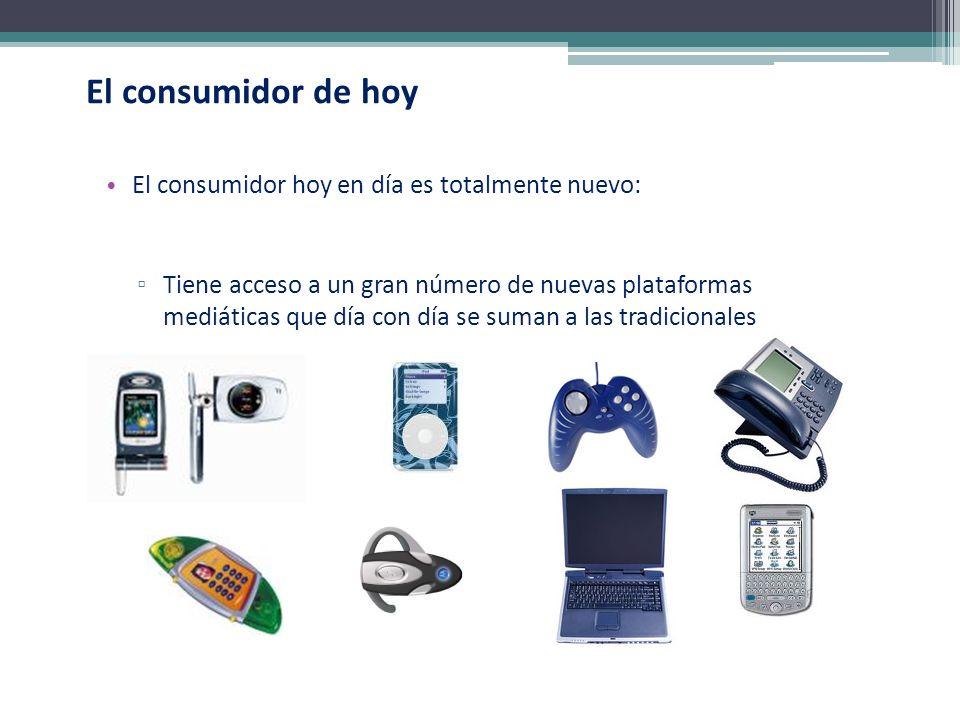El consumidor de hoy El consumidor hoy en día es totalmente nuevo: Tiene acceso a un gran número de nuevas plataformas mediáticas que día con día se s