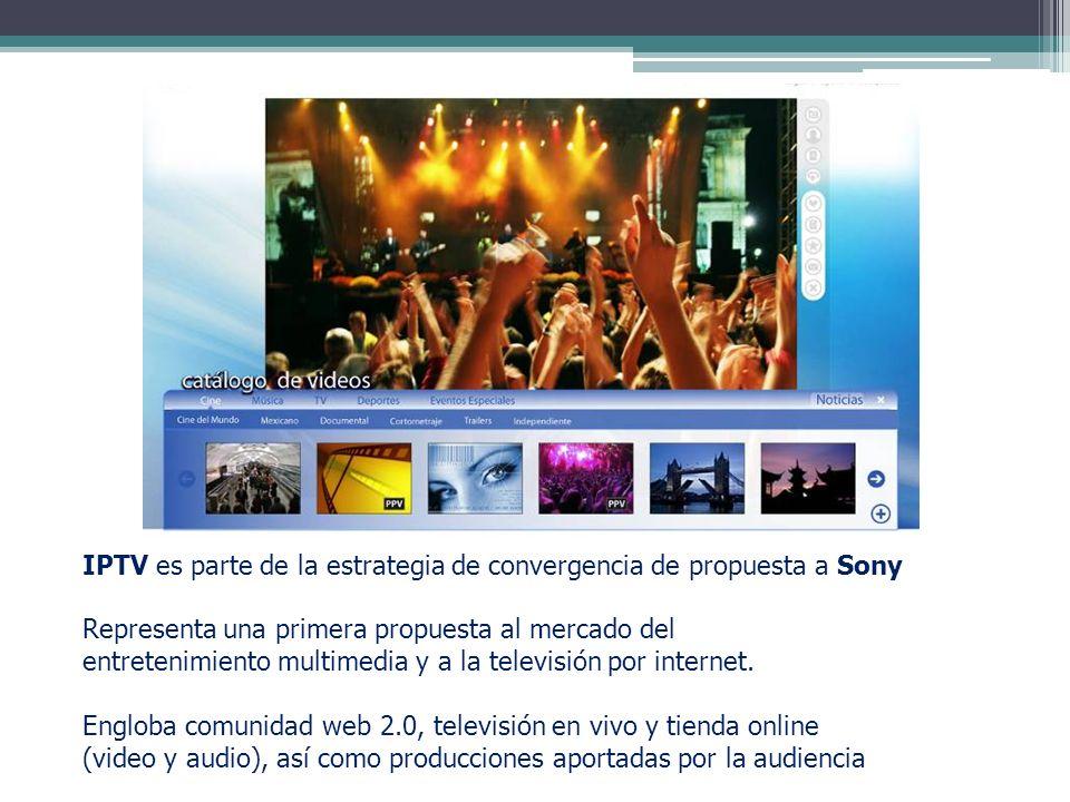 IPTV es parte de la estrategia de convergencia de propuesta a Sony Representa una primera propuesta al mercado del entretenimiento multimedia y a la t