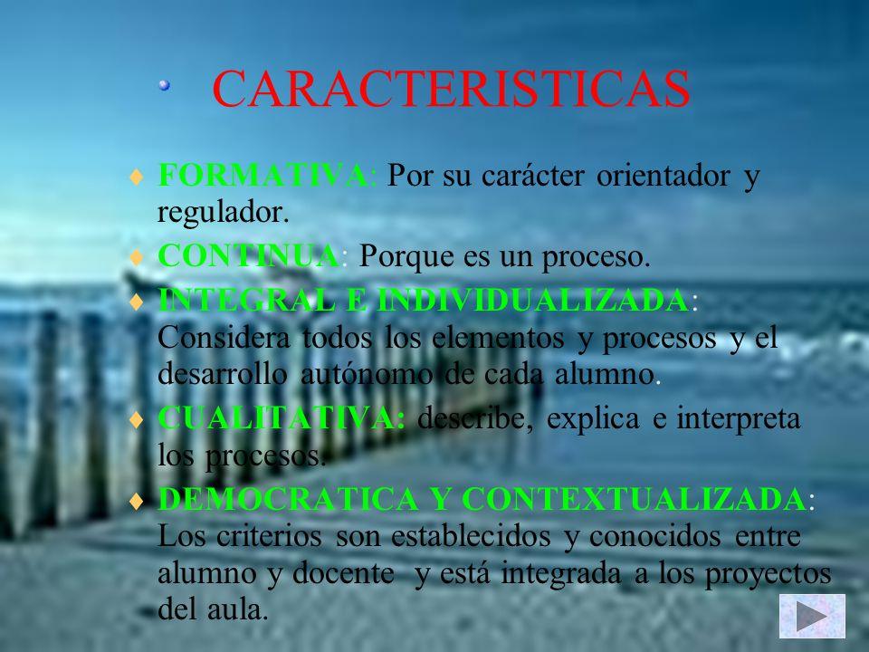 CARACTERISTICAS FORMATIVA: Por su carácter orientador y regulador. CONTINUA: Porque es un proceso. INTEGRAL E INDIVIDUALIZADA: Considera todos los ele