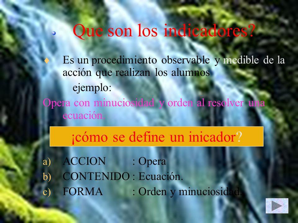 Que son los indicadores? Es un procedimiento observable y medible de la acción que realizan los alumnos ejemplo: Opera con minuciosidad y orden al res