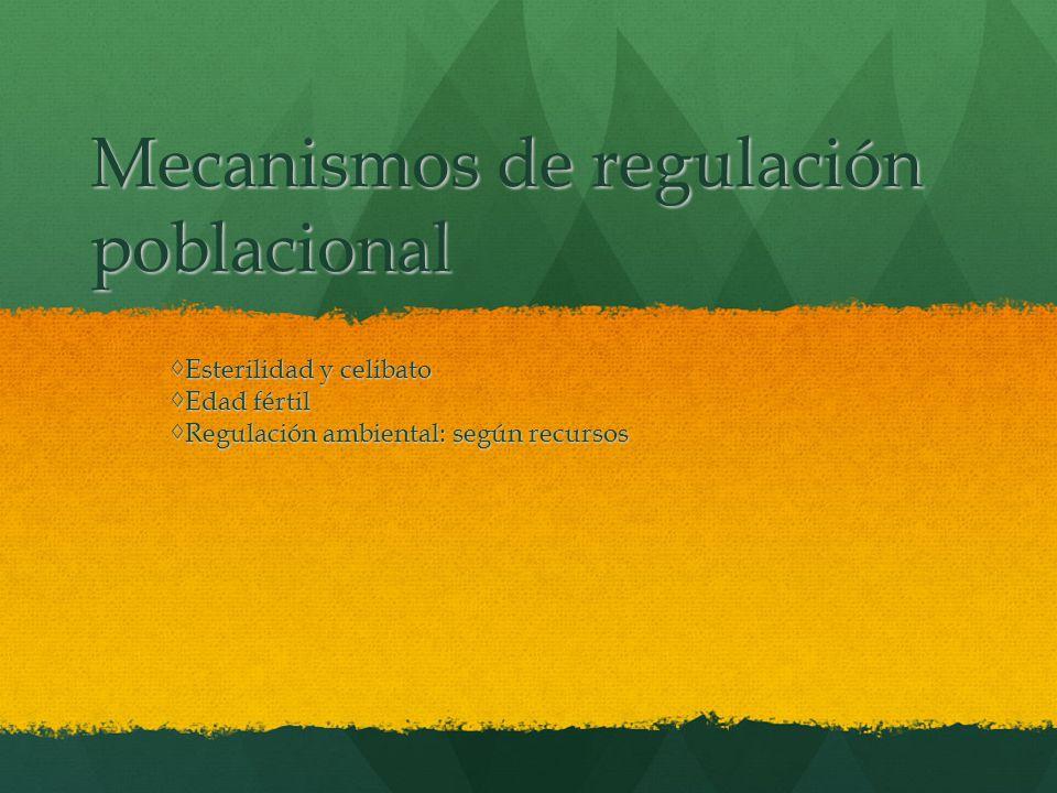 Mecanismos de regulación poblacional Esterilidad y celibatoEsterilidad y celibato Edad fértilEdad fértil Regulación ambiental: según recursosRegulació