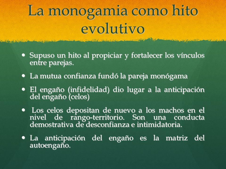 La monogamia como hito evolutivo Supuso un hito al propiciar y fortalecer los vínculos entre parejas. Supuso un hito al propiciar y fortalecer los vín
