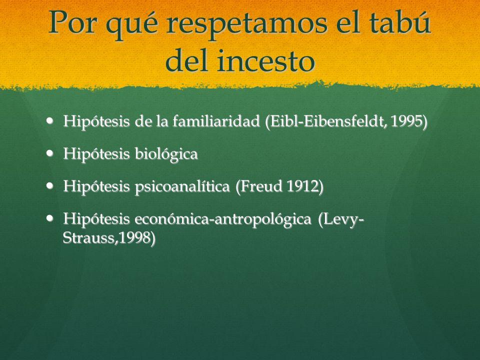 Por qué respetamos el tabú del incesto Hipótesis Hipótesis de la familiaridad (Eibl-Eibensfeldt, 1995) biológica psicoanalítica (Freud 1912) económica
