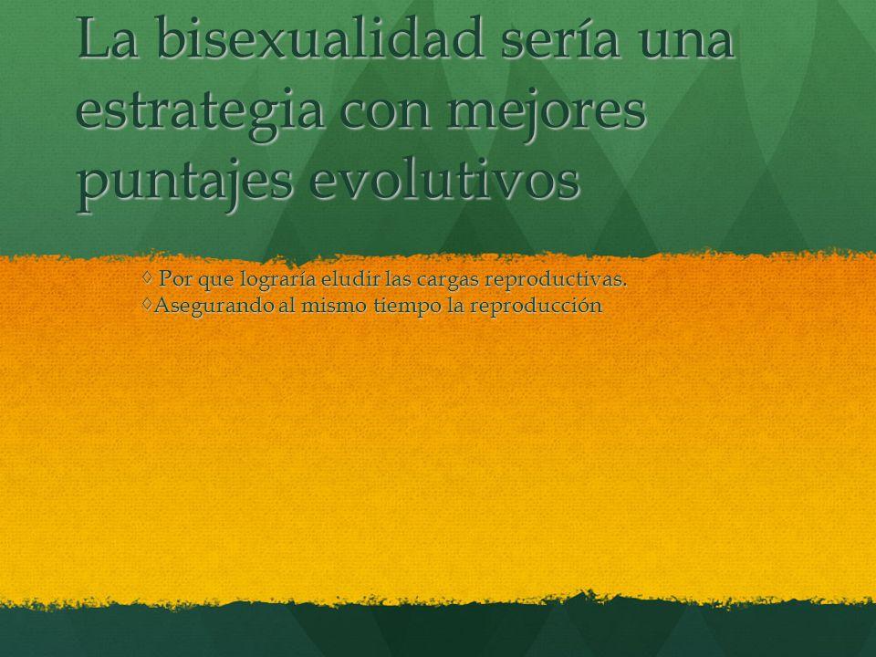 La bisexualidad sería una estrategia con mejores puntajes evolutivos Por que lograría eludir las cargas reproductivas. Por que lograría eludir las car