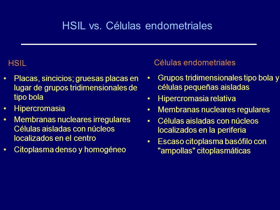 HSIL vs. Células endometriales HSIL Placas, sincicios; gruesas placas en lugar de grupos tridimensionales de tipo bola Hipercromasia Membranas nuclear