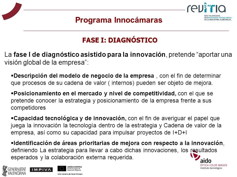 La fase I de diagnóstico asistido para la innovación, pretende aportar una visión global de la empresa: Programa Innocámaras FASE I: DIAGNÓSTICO Descr