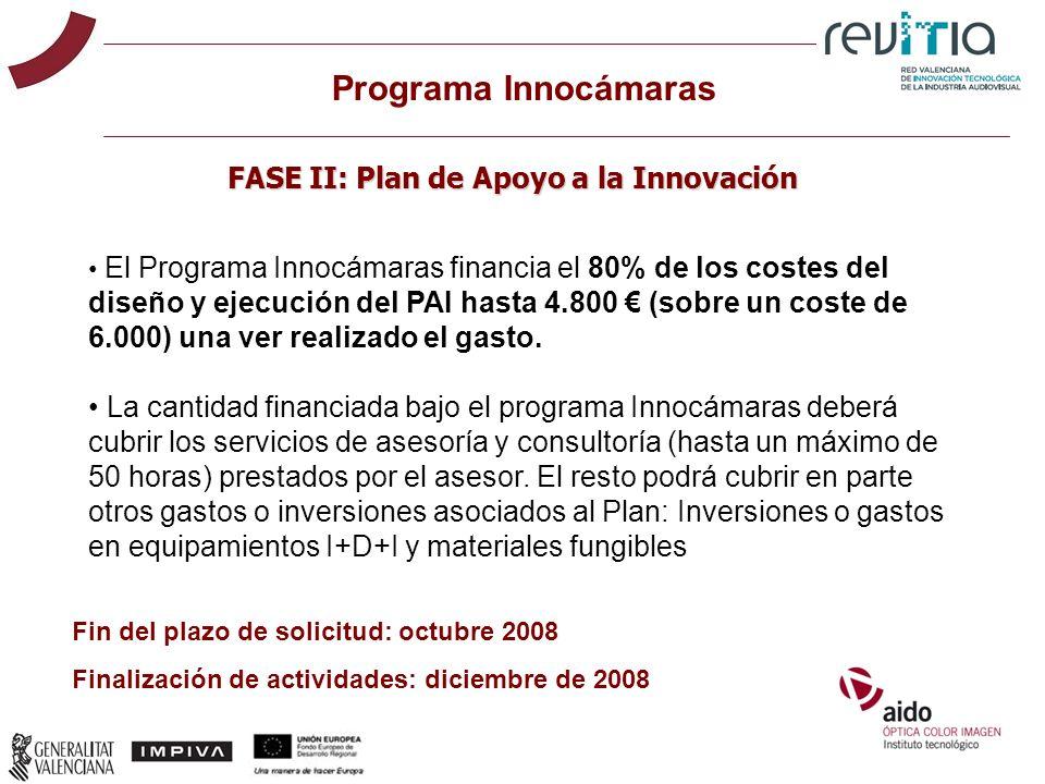 El Programa Innocámaras financia el 80% de los costes del diseño y ejecución del PAI hasta 4.800 (sobre un coste de 6.000) una ver realizado el gasto.