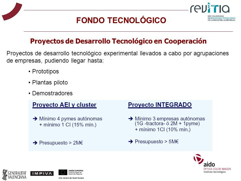 FONDO TECNOLÓGICO Proyectos de Desarrollo Tecnológico en Cooperación Proyectos de desarrollo tecnológico experimental llevados a cabo por agrupaciones