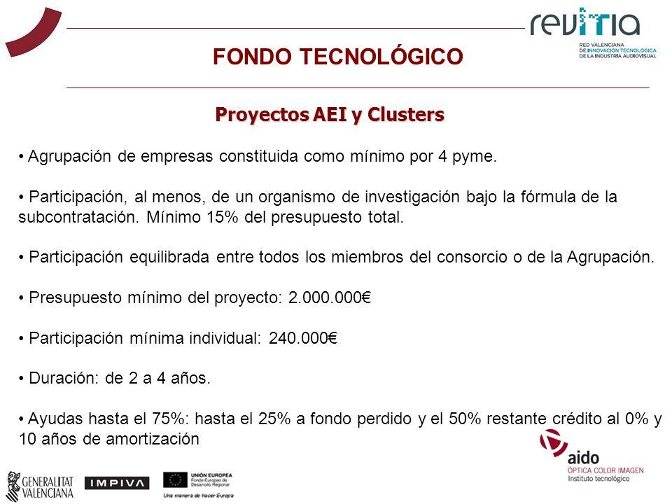 FONDO TECNOLÓGICO Proyectos AEI y Clusters Agrupación de empresas constituida como mínimo por 4 pyme. Participación, al menos, de un organismo de inve