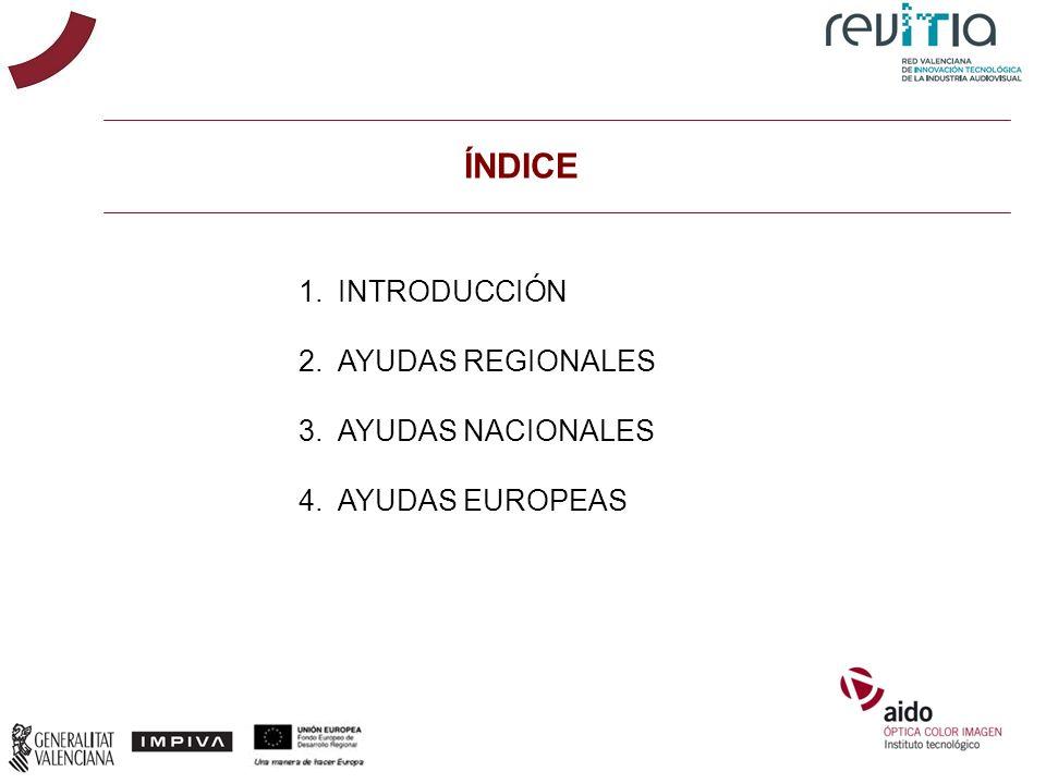 ÍNDICE 1.INTRODUCCIÓN 2.AYUDAS REGIONALES 3.AYUDAS NACIONALES 4.AYUDAS EUROPEAS