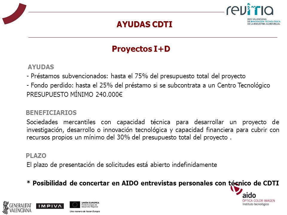 AYUDAS CDTI AYUDAS - Préstamos subvencionados: hasta el 75% del presupuesto total del proyecto - Fondo perdido: hasta el 25% del préstamo si se subcon