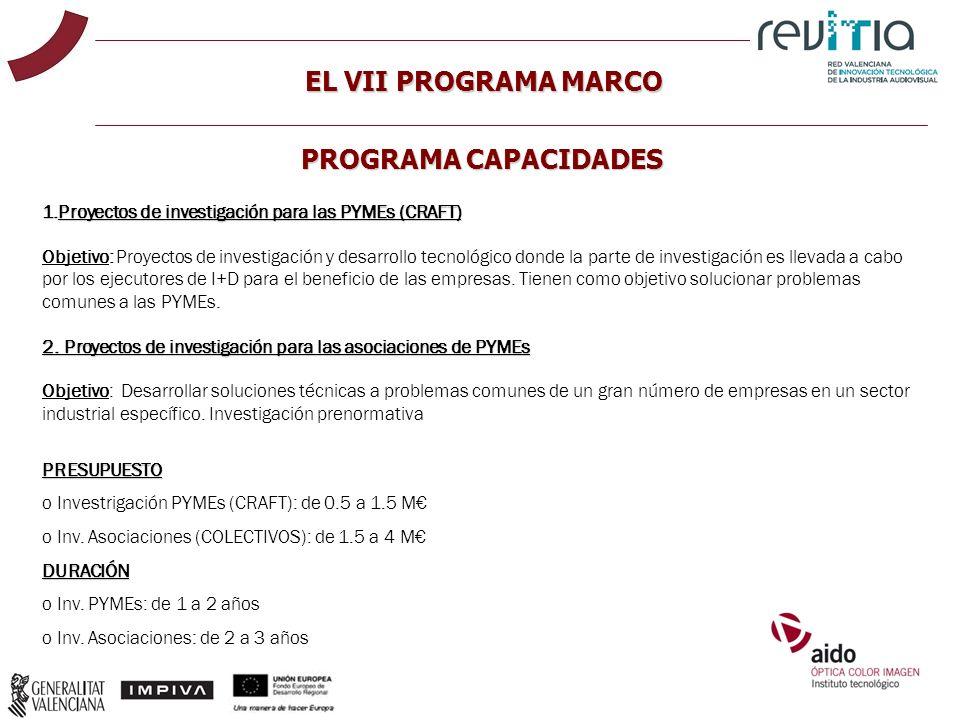 EL VII PROGRAMA MARCO PROGRAMA CAPACIDADES 1.Proyectos de investigación para las PYMEs (CRAFT) Objetivo: Proyectos de investigación y desarrollo tecno