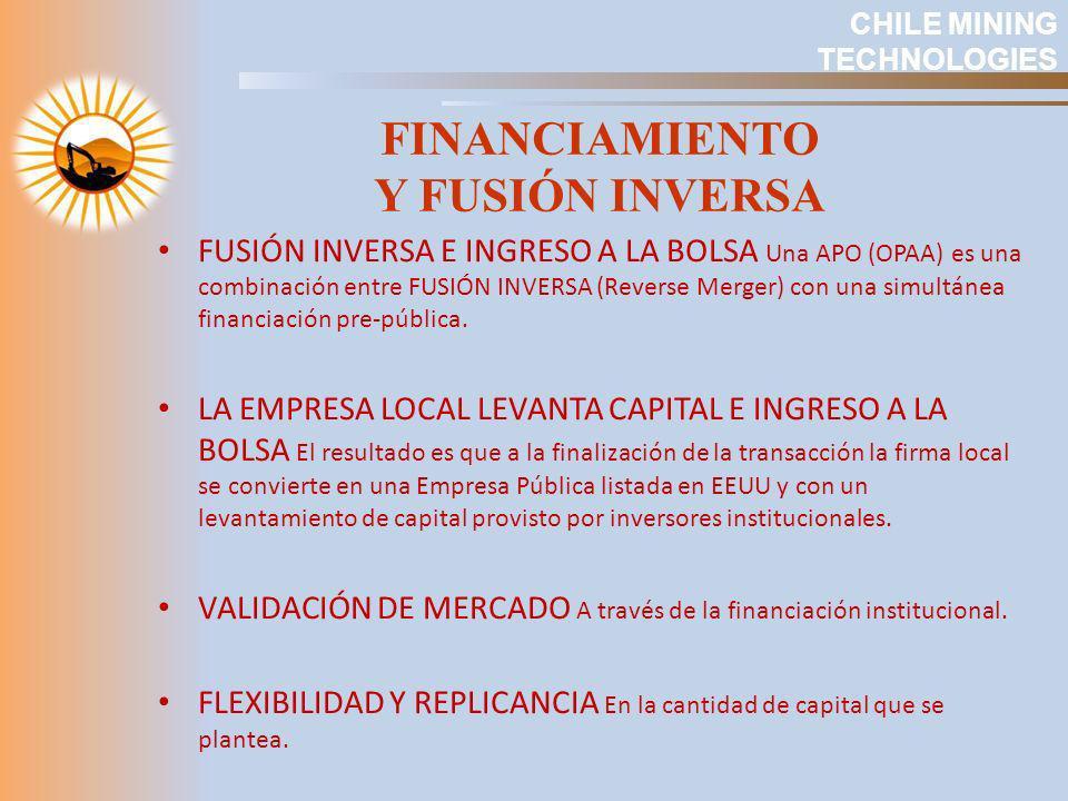 FUSIÓN INVERSA E INGRESO A LA BOLSA Una APO (OPAA) es una combinación entre FUSIÓN INVERSA (Reverse Merger) con una simultánea financiación pre-públic