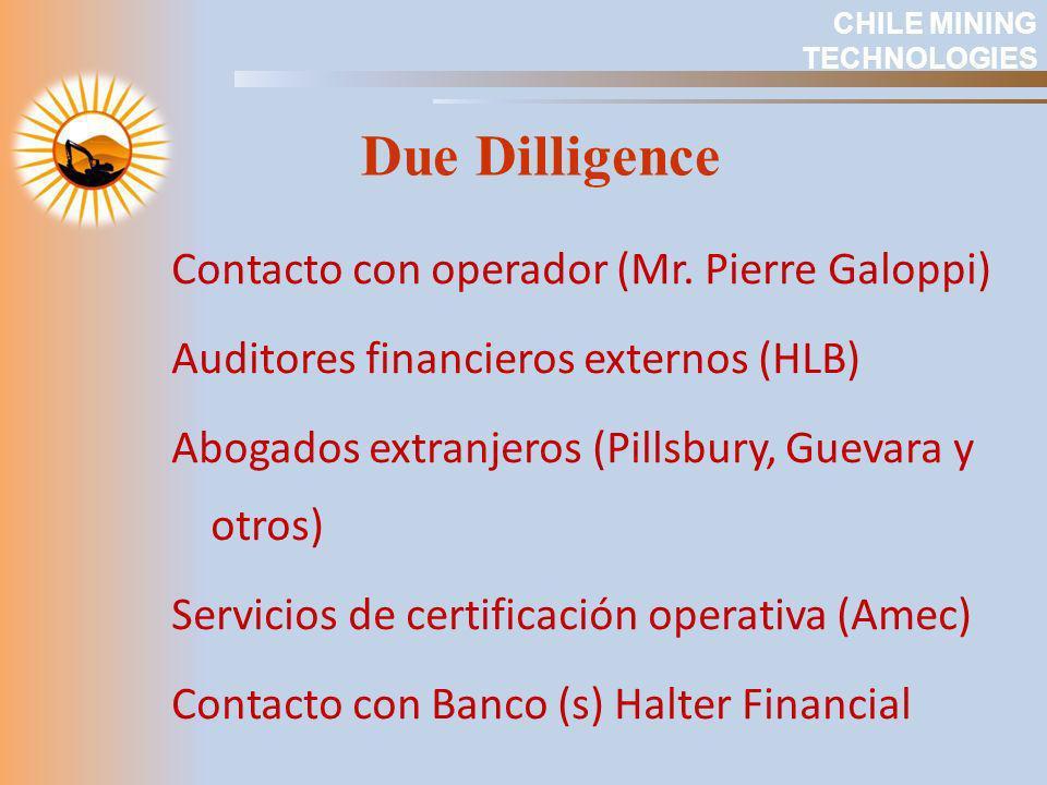 Due Dilligence Contacto con operador (Mr. Pierre Galoppi) Auditores financieros externos (HLB) Abogados extranjeros (Pillsbury, Guevara y otros) Servi
