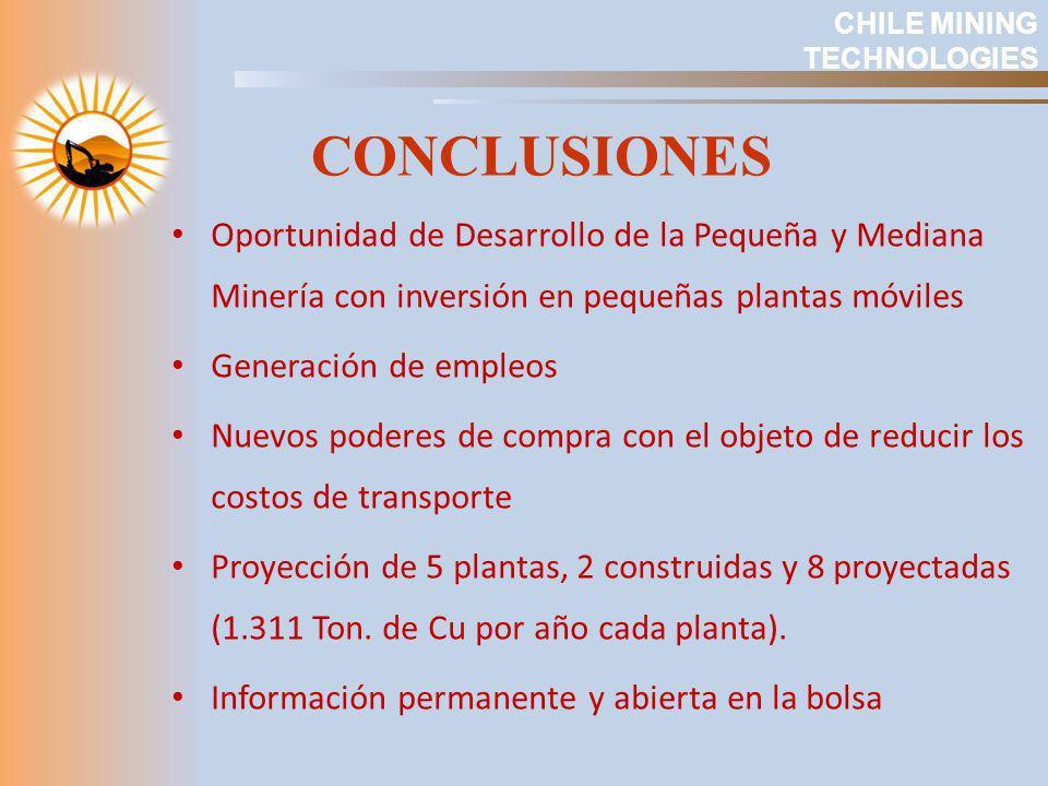CONCLUSIONES CHILE MINING TECHNOLOGIES Oportunidad de Desarrollo de la Pequeña y Mediana Minería con inversión en pequeñas plantas móviles Generación