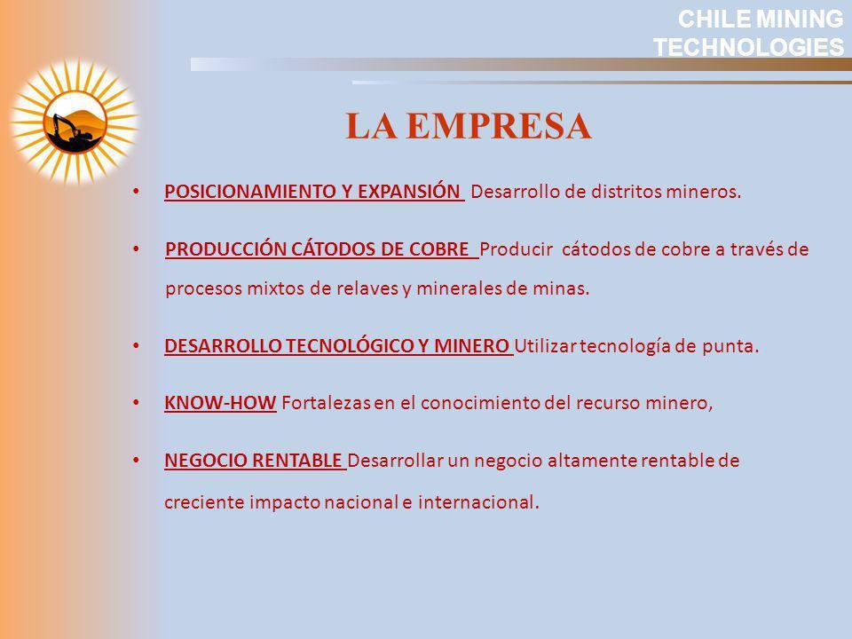 LA EMPRESA POSICIONAMIENTO Y EXPANSIÓN Desarrollo de distritos mineros. PRODUCCIÓN CÁTODOS DE COBRE Producir cátodos de cobre a través de procesos mix