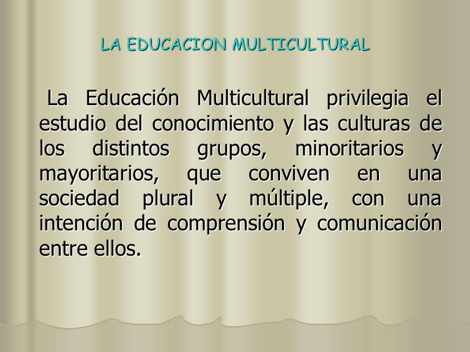 LA EDUCACION MULTICULTURAL A lo largo de los últimos años se pueden apreciar formas distintas de lo que se entiende por Educación Multicultural.