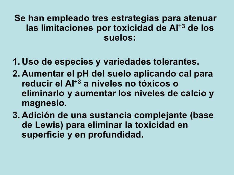 Se han empleado tres estrategias para atenuar las limitaciones por toxicidad de Al +3 de los suelos: 1.Uso de especies y variedades tolerantes. 2.Aume