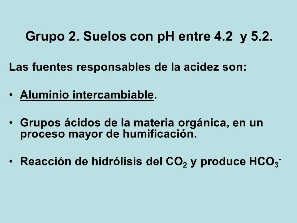 Grupo 2. Suelos con pH entre 4.2 y 5.2. Las fuentes responsables de la acidez son: Aluminio intercambiable. Grupos ácidos de la materia orgánica, en u