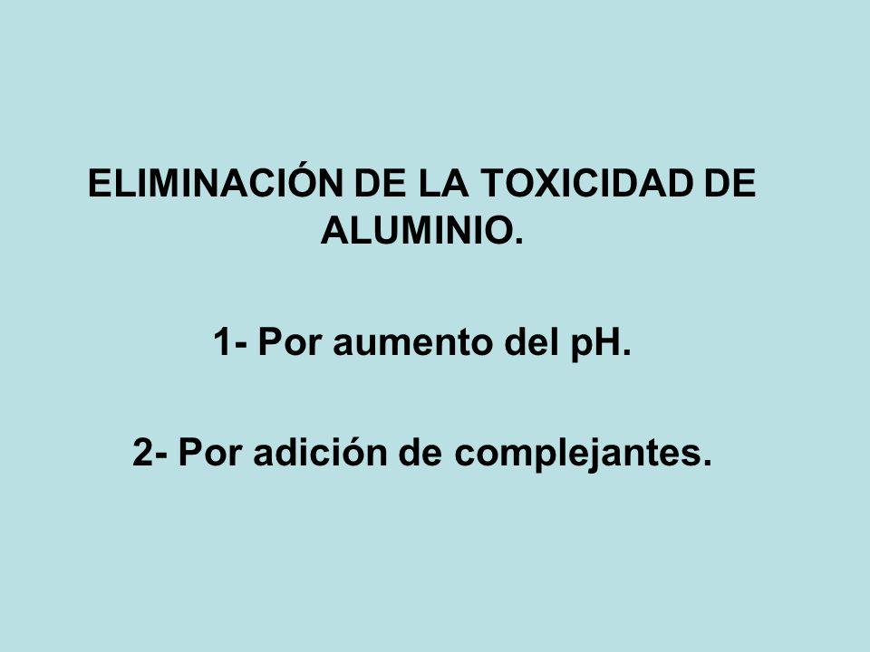 ELIMINACIÓN DE LA TOXICIDAD DE ALUMINIO. 1- Por aumento del pH. 2- Por adición de complejantes.