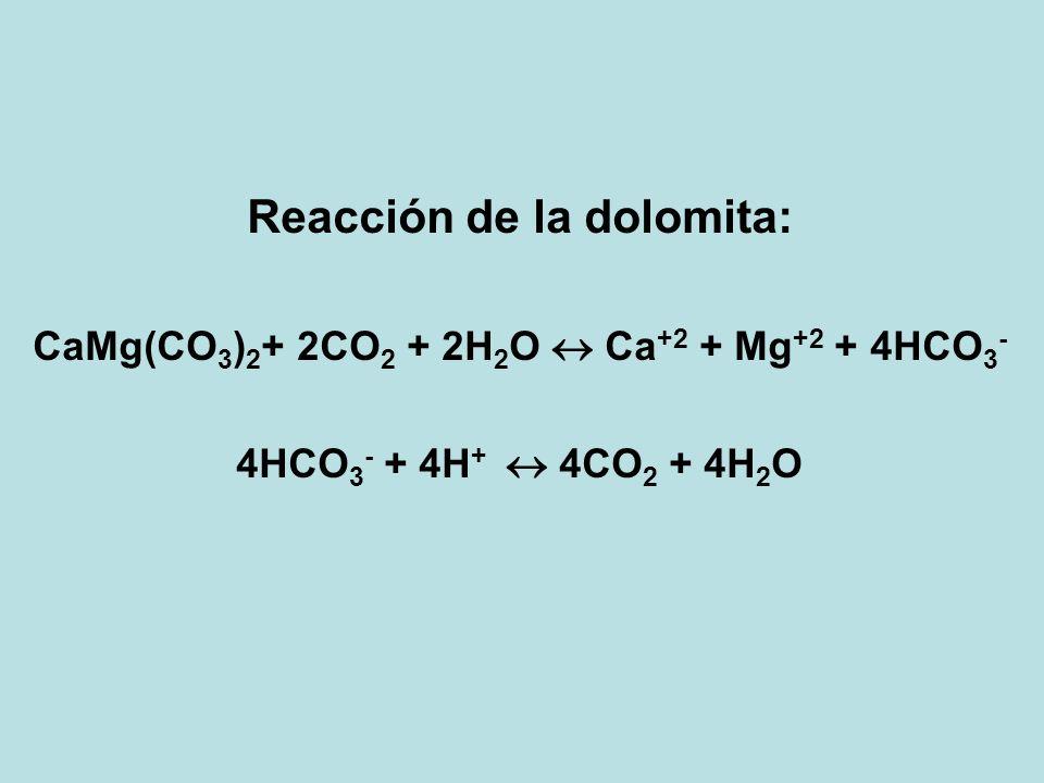 Reacción de la dolomita: CaMg(CO 3 ) 2 + 2CO 2 + 2H 2 O Ca +2 + Mg +2 + 4HCO 3 - 4HCO 3 - + 4H + 4CO 2 + 4H 2 O