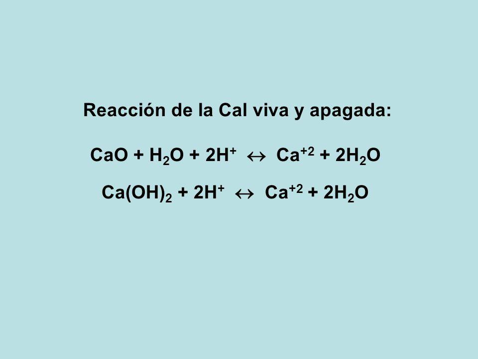 Reacción de la Cal viva y apagada: CaO + H 2 O + 2H + Ca +2 + 2H 2 O Ca(OH) 2 + 2H + Ca +2 + 2H 2 O