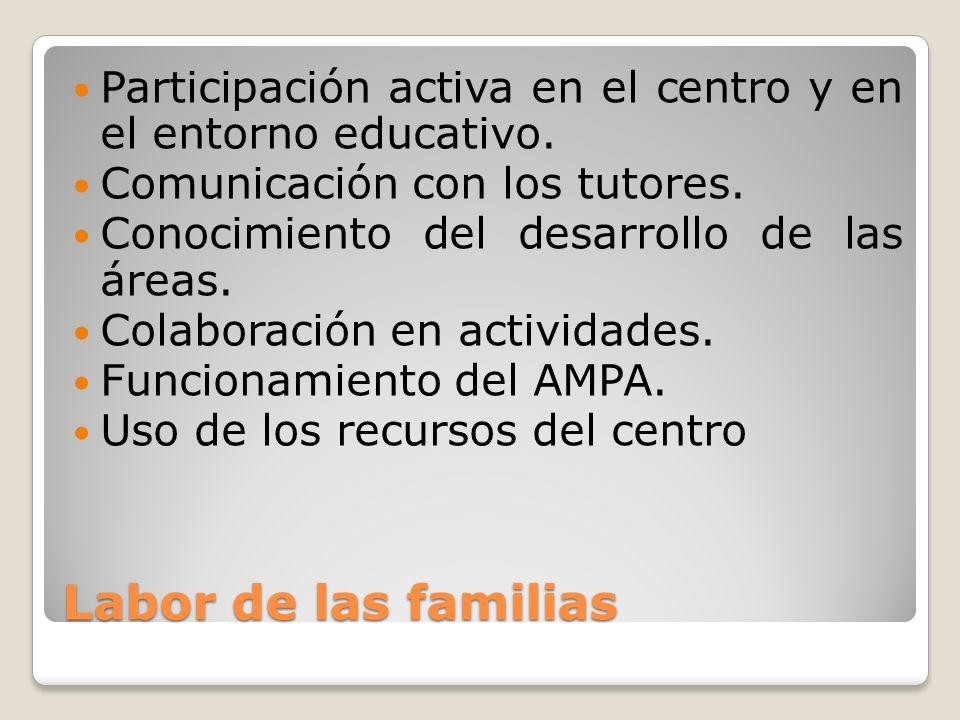 Labor de las familias Participación activa en el centro y en el entorno educativo. Comunicación con los tutores. Conocimiento del desarrollo de las ár