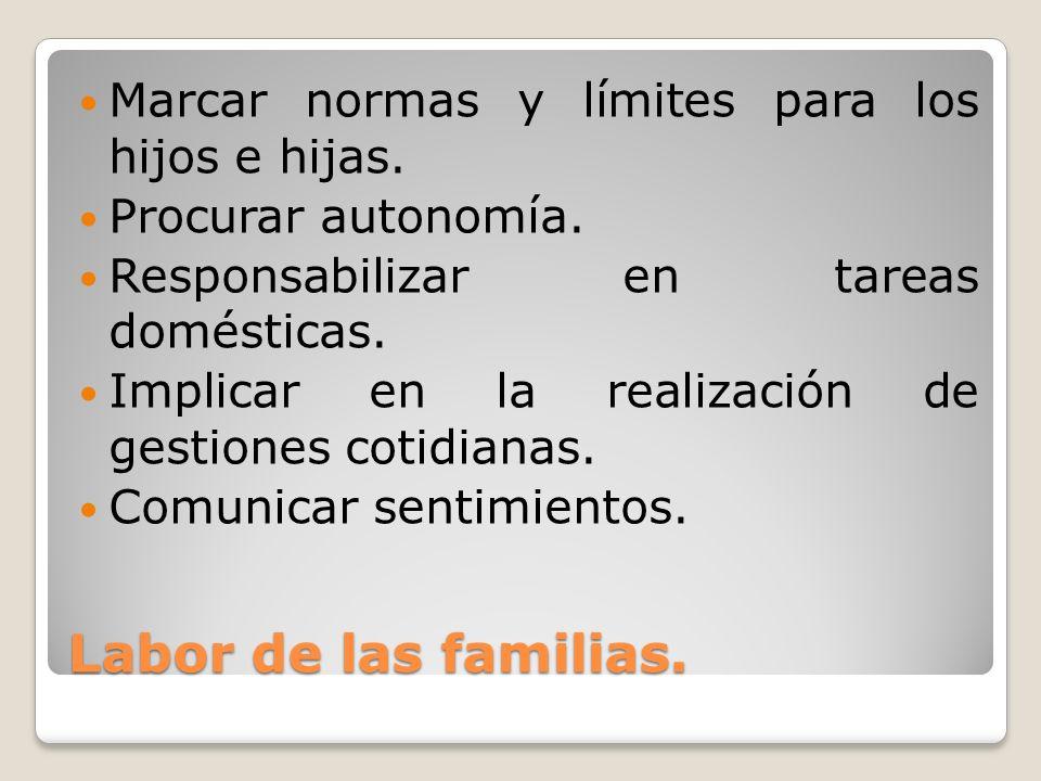 Labor de las familias. Marcar normas y límites para los hijos e hijas. Procurar autonomía. Responsabilizar en tareas domésticas. Implicar en la realiz