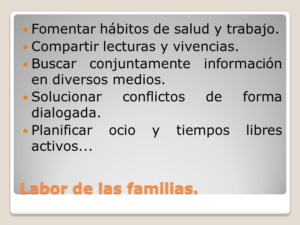 Labor de las familias. Fomentar hábitos de salud y trabajo. Compartir lecturas y vivencias. Buscar conjuntamente información en diversos medios. Soluc