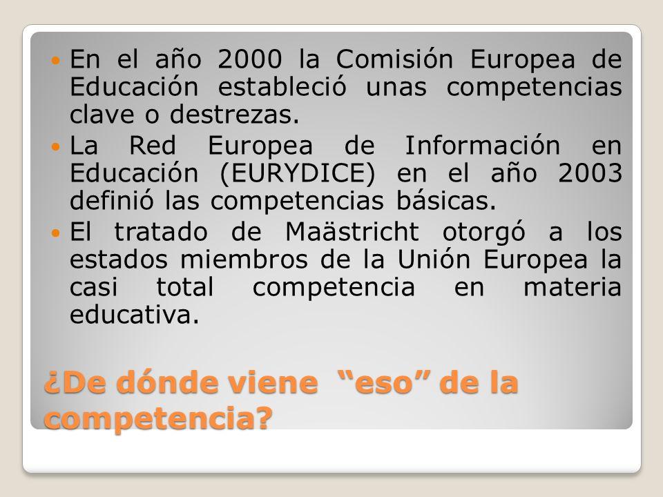 ¿De dónde viene eso de la competencia? En el año 2000 la Comisión Europea de Educación estableció unas competencias clave o destrezas. La Red Europea