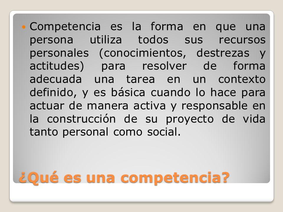 ¿Qué es una competencia? Competencia es la forma en que una persona utiliza todos sus recursos personales (conocimientos, destrezas y actitudes) para