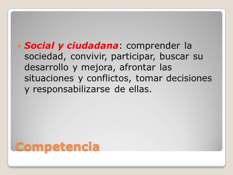 Competencia Social y ciudadana: comprender la sociedad, convivir, participar, buscar su desarrollo y mejora, afrontar las situaciones y conflictos, to