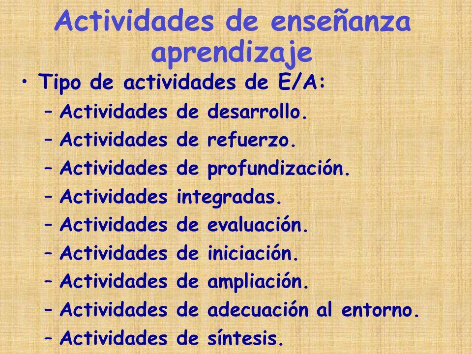 Tipo de actividades de E/A: –Actividades de desarrollo. –Actividades de refuerzo. –Actividades de profundización. –Actividades integradas. –Actividade