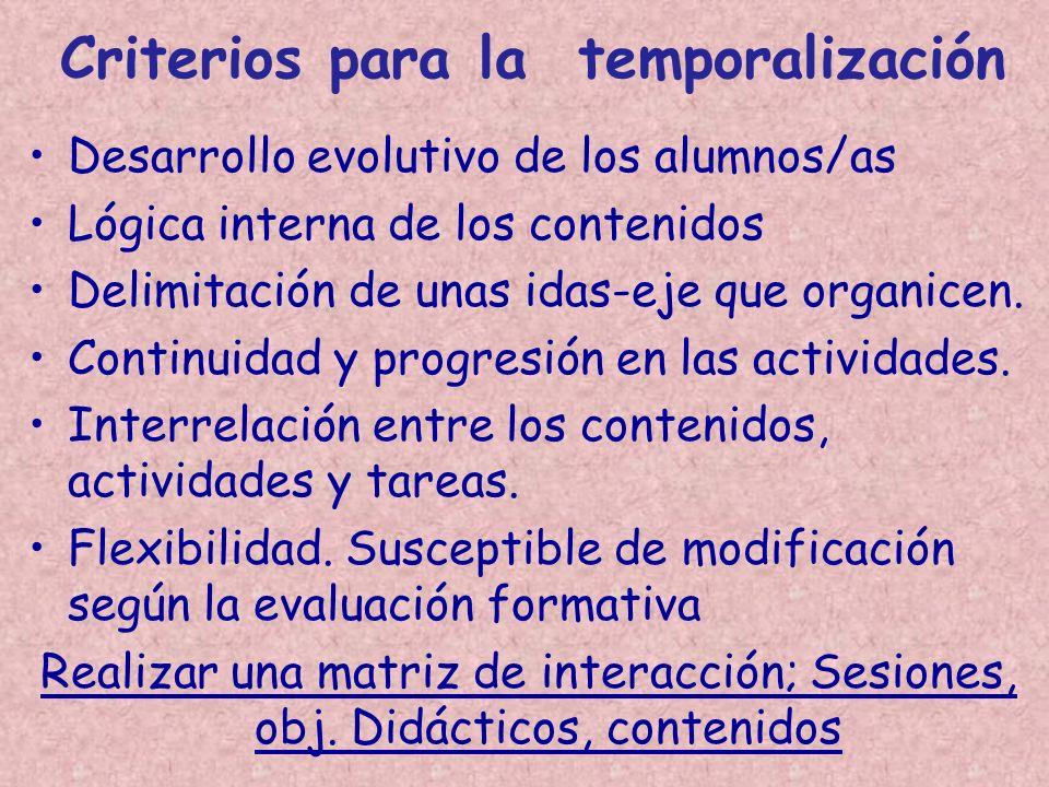 Criterios para la temporalización Desarrollo evolutivo de los alumnos/as Lógica interna de los contenidos Delimitación de unas idas-eje que organicen.
