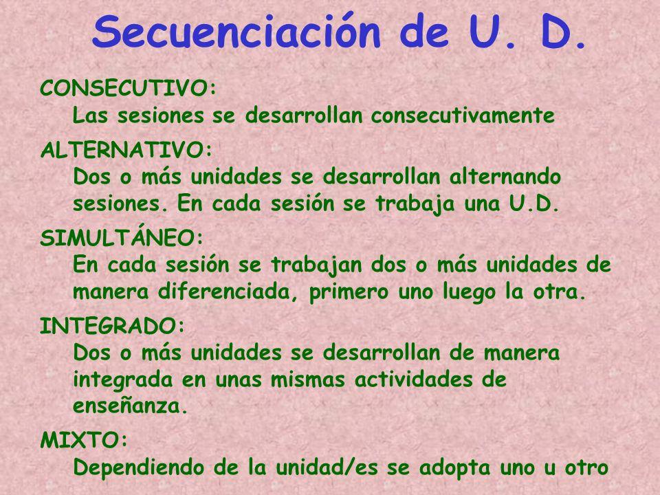 Secuenciación de U. D. CONSECUTIVO: Las sesiones se desarrollan consecutivamente ALTERNATIVO: Dos o más unidades se desarrollan alternando sesiones. E