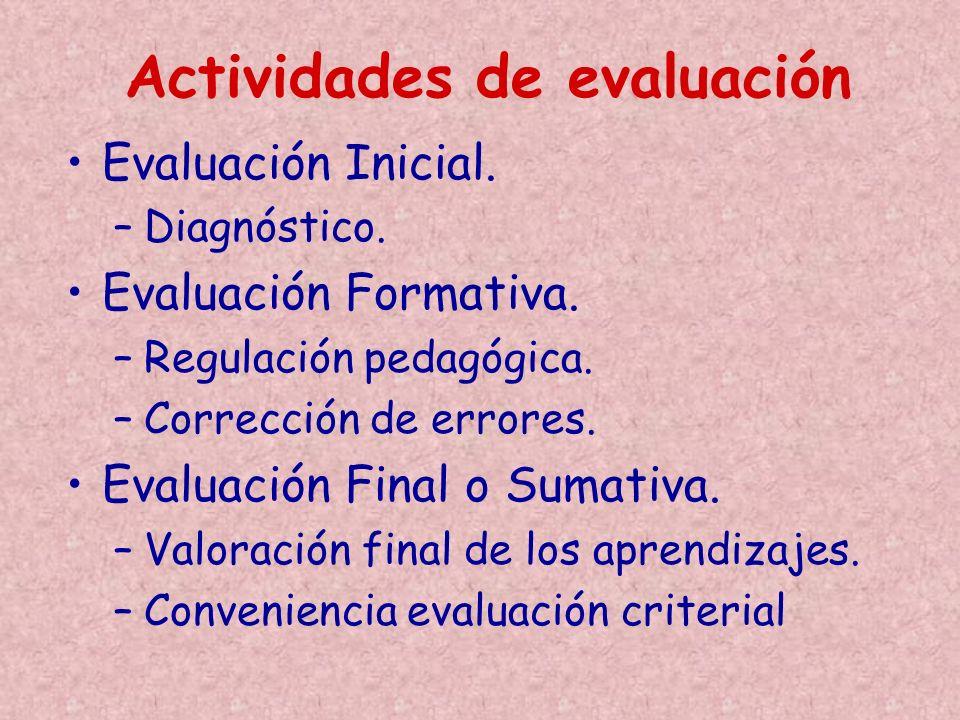 Evaluación Inicial. –Diagnóstico. Evaluación Formativa. –Regulación pedagógica. –Corrección de errores. Evaluación Final o Sumativa. –Valoración final