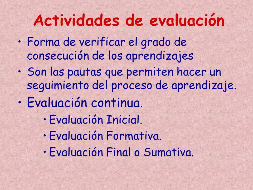 Forma de verificar el grado de consecución de los aprendizajes Son las pautas que permiten hacer un seguimiento del proceso de aprendizaje. Evaluación