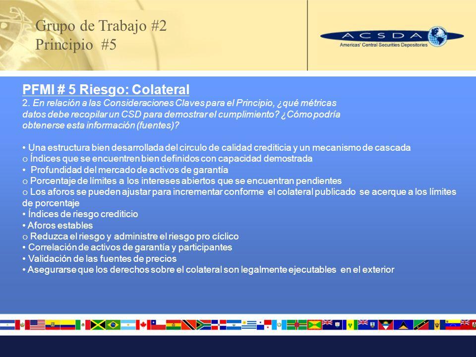 PFMI # 5 Riesgo: Colateral 2. En relación a las Consideraciones Claves para el Principio, ¿qué métricas datos debe recopilar un CSD para demostrar el