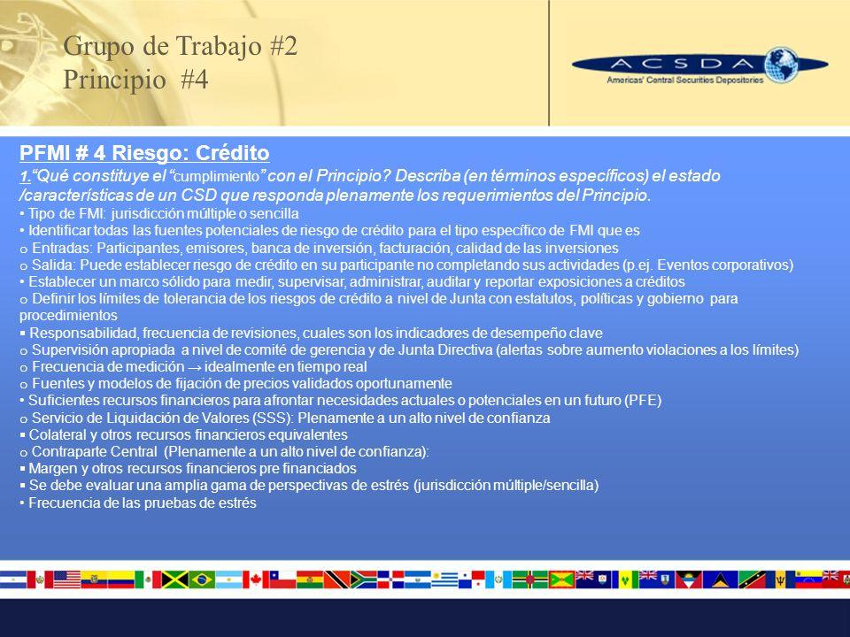 Grupo de Trabajo #2 Principio #4 PFMI # 4 Riesgo: Crédito 1. Qué constituye el cumplimiento con el Principio? Describa (en términos específicos) el es