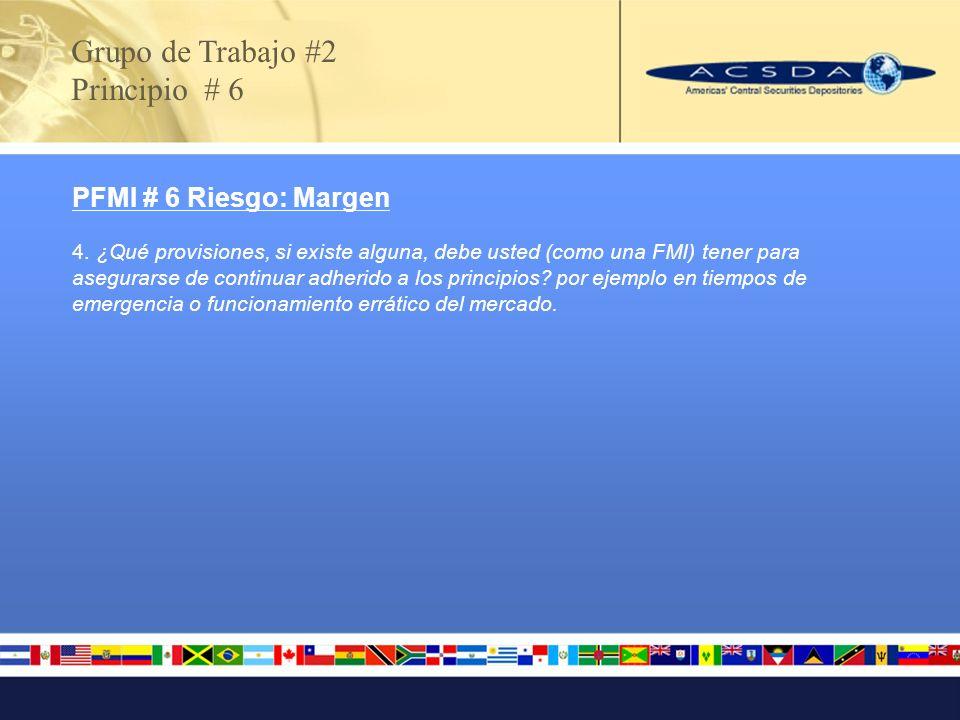 PFMI # 6 Riesgo: Margen 4. ¿Qué provisiones, si existe alguna, debe usted (como una FMI) tener para asegurarse de continuar adherido a los principios?