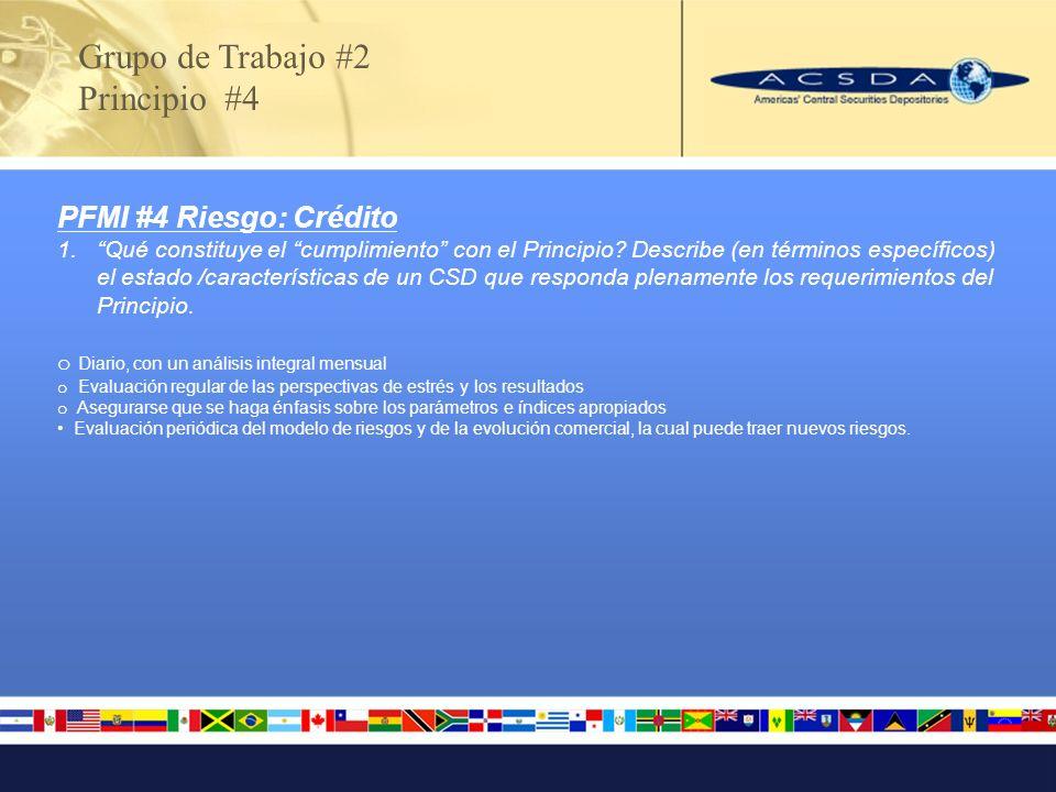 Mary Ann Callahan – DTCC (macallahan@dtcc.com) Joseph Campos – CDS (jcampos@cds.com) Dale Connock – Strate (dalec@strate.co.za) Gianinna Estrella – Cevaldom (gestrella@cevaldom.com) Roberto Oyos – Cavali (royos@cavali.com.pe) Jorge Pelayo – Indeval (JPELAYO@indeval.com.mx) Grupo de Trabajo #2 Miembros