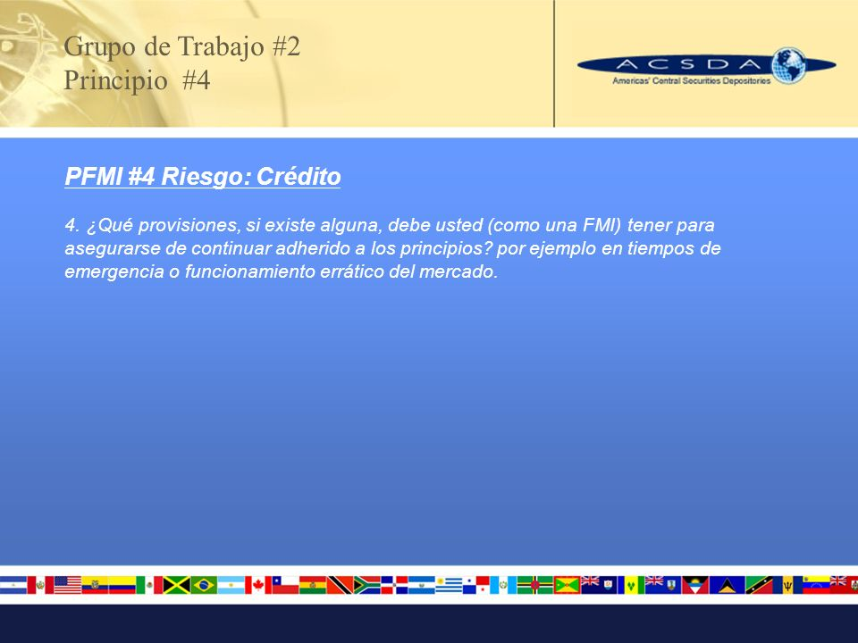 PFMI #4 Riesgo: Crédito 4. ¿Qué provisiones, si existe alguna, debe usted (como una FMI) tener para asegurarse de continuar adherido a los principios?