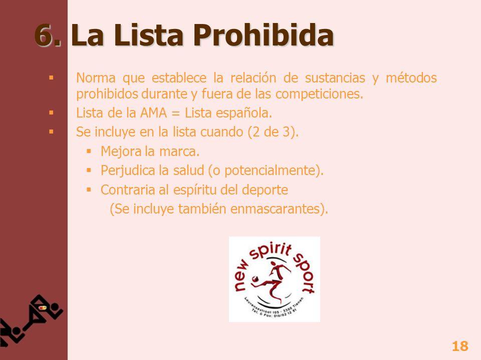 19 6.La Lista Prohibida No se indican todas (a veces ejemplos) No igual para todos los deportes.