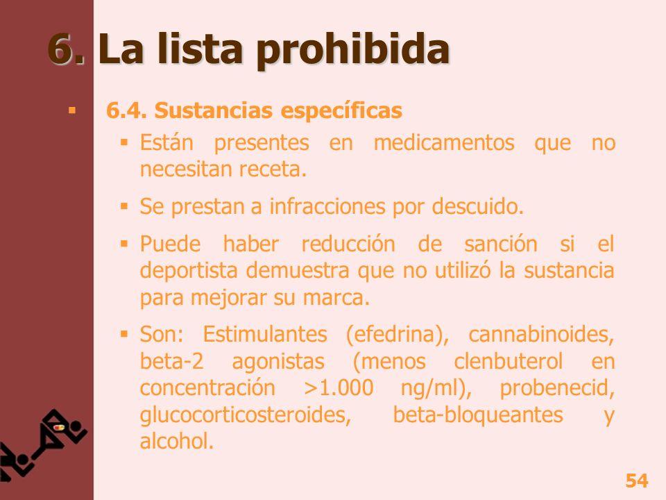 55 6.La lista prohibida 6.5. Programa de seguimiento De sustancias que NO están en la lista.