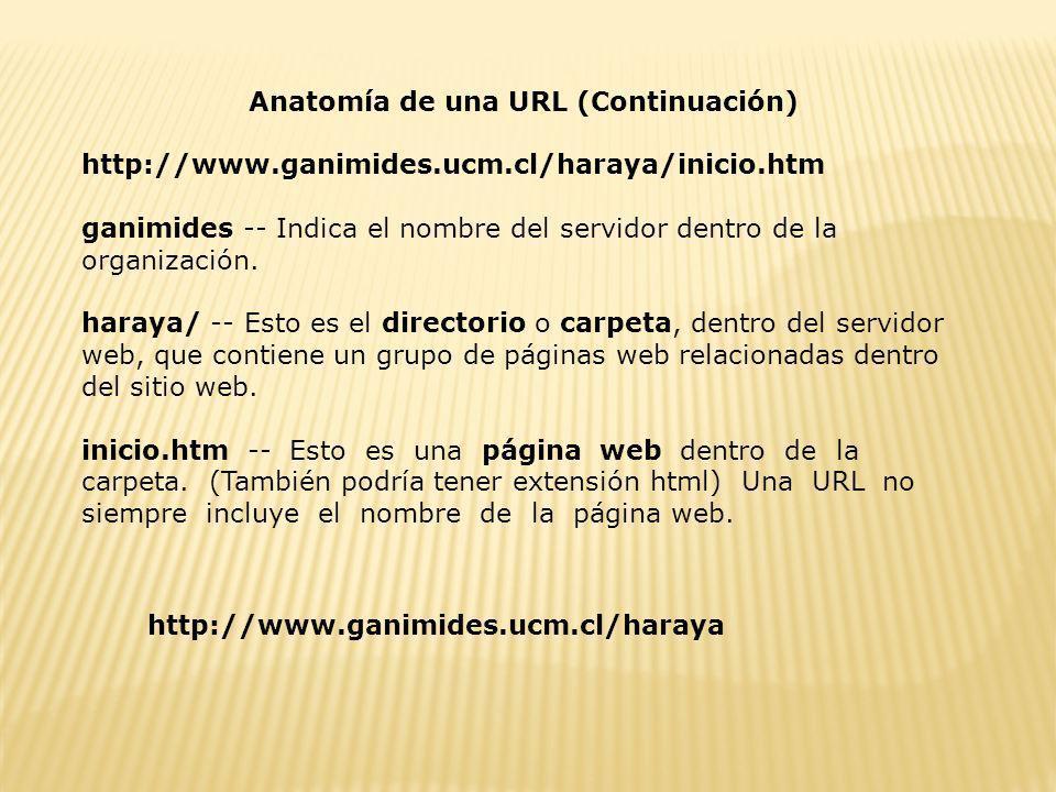 Anatomía de una URL (Continuación) http://www.ganimides.ucm.cl/haraya/inicio.htm ganimides -- Indica el nombre del servidor dentro de la organización.