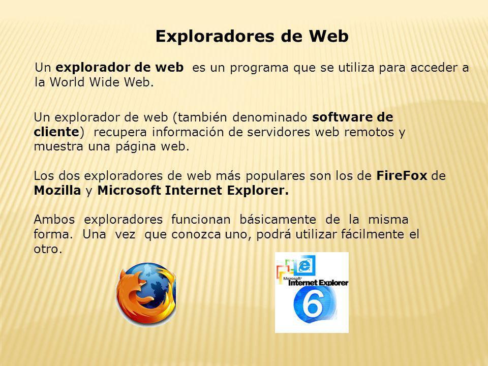 Exploradores de Web Un explorador de web es un programa que se utiliza para acceder a la World Wide Web. Un explorador de web (también denominado soft