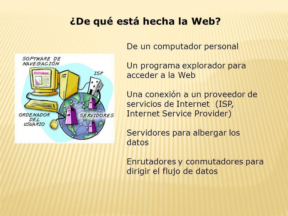 ¿De qué está hecha la Web? De un computador personal Un programa explorador para acceder a la Web Una conexión a un proveedor de servicios de Internet