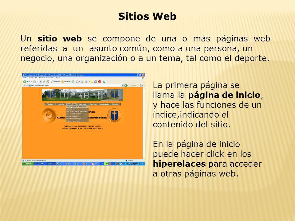 Sitios Web Un sitio web se compone de una o más páginas web referidas a un asunto común, como a una persona, un negocio, una organización o a un tema,
