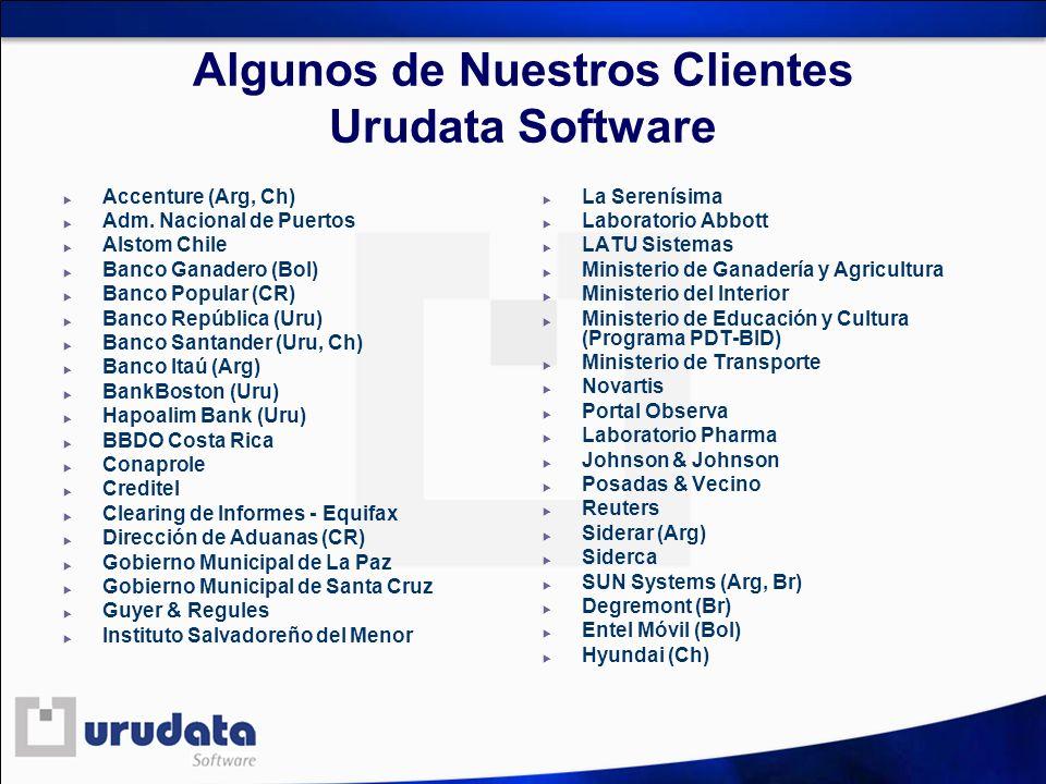 Algunos de Nuestros Clientes Urudata Software Accenture (Arg, Ch) Adm. Nacional de Puertos Alstom Chile Banco Ganadero (Bol) Banco Popular (CR) Banco