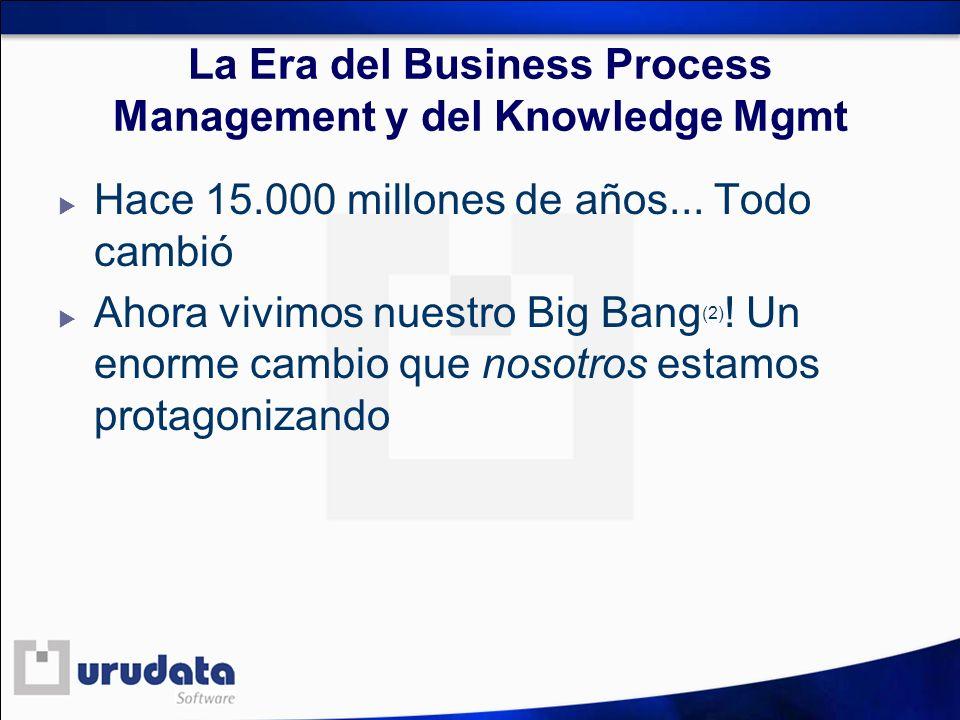 La Era del Business Process Management y del Knowledge Mgmt Hace 15.000 millones de años... Todo cambió Ahora vivimos nuestro Big Bang (2) ! Un enorme